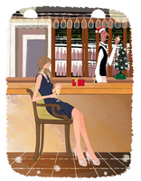クリスマスにバーでワインを飲む女性とバーテンダー