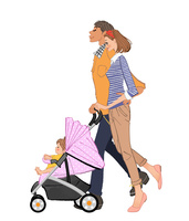 赤ちゃんの乗るベビーカーを押すママとパパ
