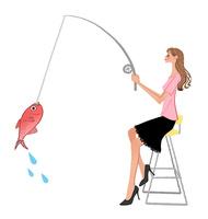 魚釣りをする女性