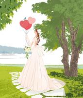 ウェディングドレスを着た風船をもった女性と青い鳥