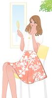 椅子に座り手鏡を見て化粧を確認する女性 10402000184| 写真素材・ストックフォト・画像・イラスト素材|アマナイメージズ