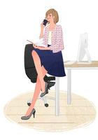 オフィスのデスクに座りコーヒーを飲んで手帳を開くOLの女の子