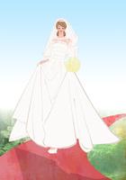 ウェディングドレスを着てバージンロードを歩く女性