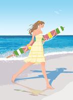 ビーチパラソルを持って裸足で砂浜を歩くワンピースの女性