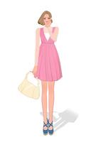 ワンピースを着て買い物に出かけるショートボブの女性