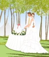 教会の見える高原でケーキカットする新郎新婦 10402000205| 写真素材・ストックフォト・画像・イラスト素材|アマナイメージズ