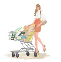 お店でショッピングカートを押して買い物する会社帰りのOL 10402000208| 写真素材・ストックフォト・画像・イラスト素材|アマナイメージズ