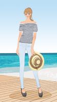 初夏の海辺で麦わら帽子を持って立つポニーテールの女性