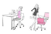 会社の机で仕事をするOLたち 10402000226| 写真素材・ストックフォト・画像・イラスト素材|アマナイメージズ
