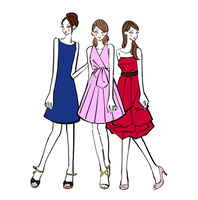 パーティに出席するドレスを着た女の子たち