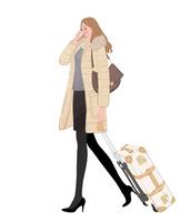 携帯電話をかけながらスーツケースを引いて歩く女の子 10402000233| 写真素材・ストックフォト・画像・イラスト素材|アマナイメージズ