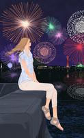 海辺で堤防に座り花火を見る女の子