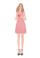ドレスを着てプレゼントを持つ女の子