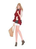 冬にマフラーをして暖かい服装をする女の子