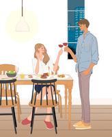 リビングで食事するカップル