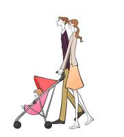 ベビーカーに乗った赤ちゃんとパパとママ