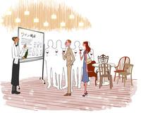 ホテルのレストランでソムリエのワイン講座を受ける男性と女性