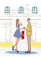 レストランの建物の前でプレゼントを渡す男性とワンピースの女性