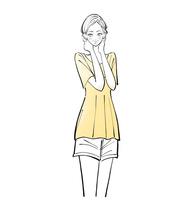 首に手を当てる洗顔後の女性 10402000289| 写真素材・ストックフォト・画像・イラスト素材|アマナイメージズ