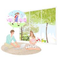 赤ちゃんの将来を想像するリビングに座るパパとママ 10402000303| 写真素材・ストックフォト・画像・イラスト素材|アマナイメージズ