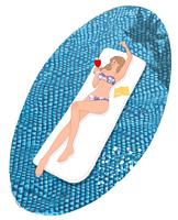 プールで寝そべりドリンクを飲むビキニの女の子