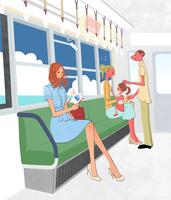 電車で本を読む女の子と子供づれの家族