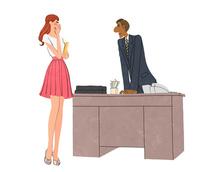 会社で怒る上司の男性と怒られるOL 10402000330| 写真素材・ストックフォト・画像・イラスト素材|アマナイメージズ