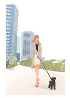 バゲットを買い街で犬の散歩をする女性 10402000347| 写真素材・ストックフォト・画像・イラスト素材|アマナイメージズ