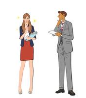 きらきら輝く女性社員と悩む男性
