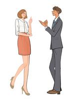 提案する女性社員と納得する男性社員