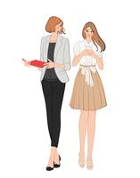 会話しながら歩く女性社員