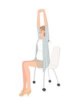 椅子に座り背伸びして肩関節をほぐす運動をする女性 10402000365| 写真素材・ストックフォト・画像・イラスト素材|アマナイメージズ