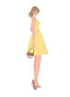 ドレスを着て振り返るポニーテールの女性