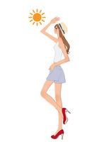 まぶしい太陽に手をかざす女性