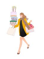 買い物してプレゼントを持って走る女性 10402000413| 写真素材・ストックフォト・画像・イラスト素材|アマナイメージズ