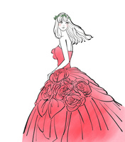 ウエディングドレスを着た花冠をつけた女性