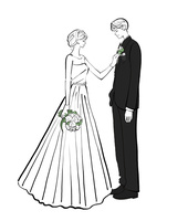 ウェディングドレスを着た花嫁と新郎