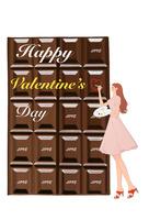バレンタインのチョコレートに文字を書く女の子