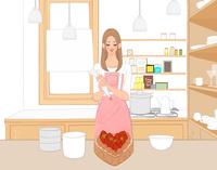 キッチンでイチゴののったチョコレートケーキを作る女の子 10402000433| 写真素材・ストックフォト・画像・イラスト素材|アマナイメージズ