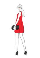 ワンピースのドレスを着て振り返る女性