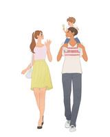 子供を肩車するパパと手を振るママ