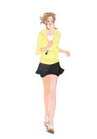 携帯プレーヤーで音楽を聴きながらジョギングする女の子