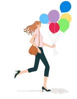風船を持って走る女性
