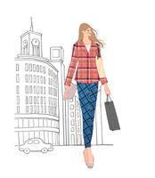 銀座の街を買い物して歩く女性