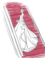 ウェディングドレスを着て階段に立つ女性