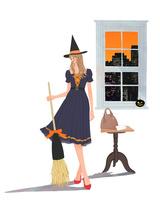 ハロウィンでドレスを着て箒を持ち帽子をかぶる女の子