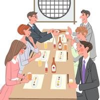 結婚の前に両親の顔合わせで料亭で会食する家族