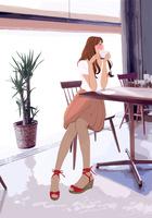 カフェで椅子に座り珈琲を飲む女性
