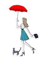 傘を差して猫と歩く女性