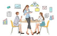 オフィスで仕事の打ち合わせをする女性たち